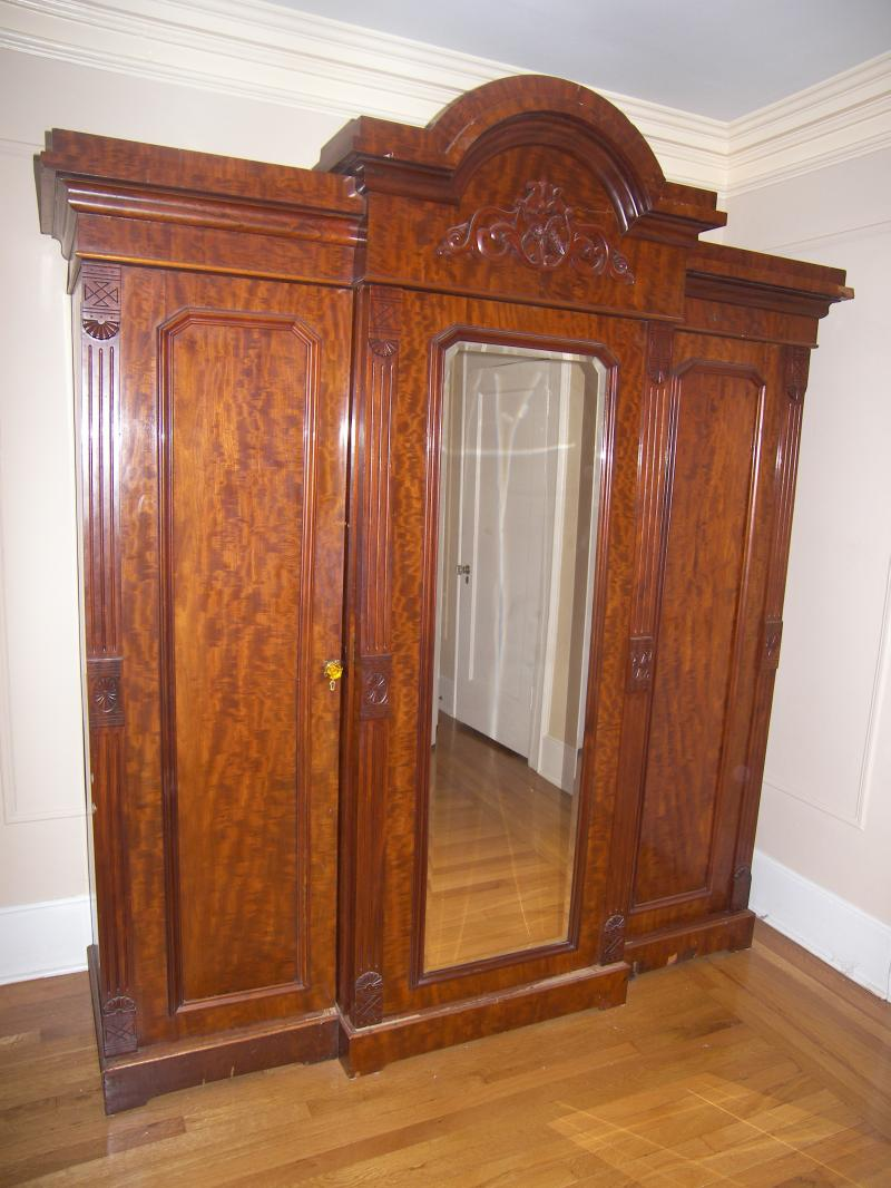 Lovely French Antique 3 Door Wardrobe Armoire - $2400